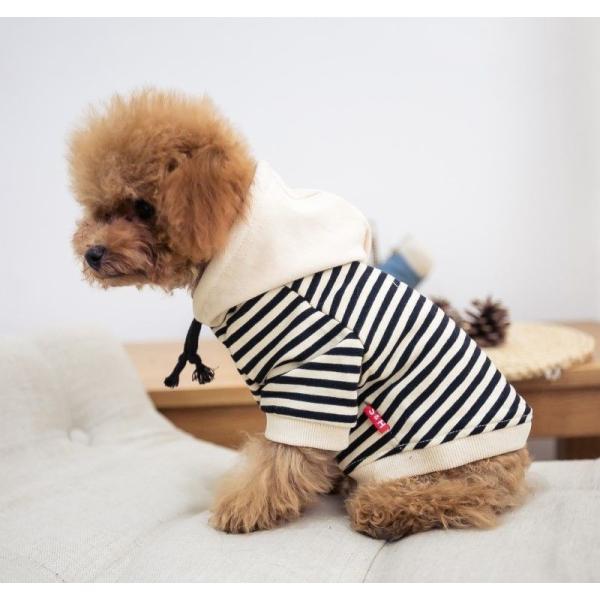 犬服 ドッグウェア パーカー フード付きパーカー 飼い主とお揃い ボーダー柄 フード 犬用品 ペット用品 犬 いぬ ドッグ 小型犬 中型犬 大型犬 フ|mignonlindo|02