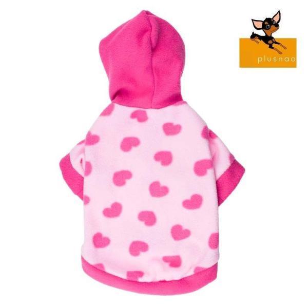 ペット用 犬猫兼用 洋服 フリースパーカー 半袖 フード付き スナップボタン ハート柄 防寒 寒さ対策 暖かい あったかい ぬくぬく 秋冬 おしゃれ