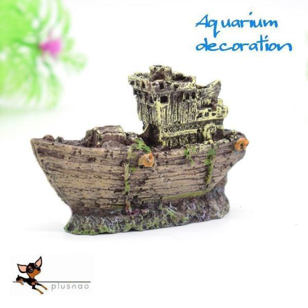 水槽用オブジェ 海賊船 幽霊船 ゴーストシップ 隠れ家 棲み家 置き物 水槽用レイアウト アクアリウムデコレーション 水槽内インテリア アクセサリー