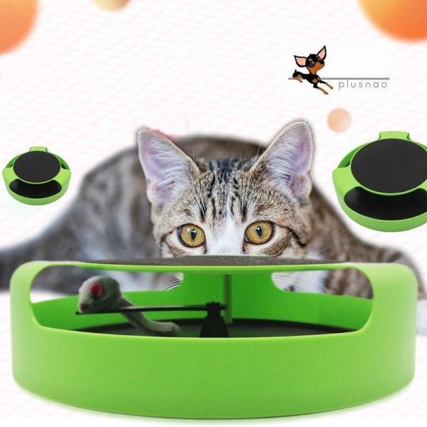 ネコ用おもちゃ 猫用 ネズミ 玩具 一人遊び 回転 運動不足解消 ストレス解消 室内 遊び道具 ねこ キャット ペット用品 ペット用おもちゃ 緑