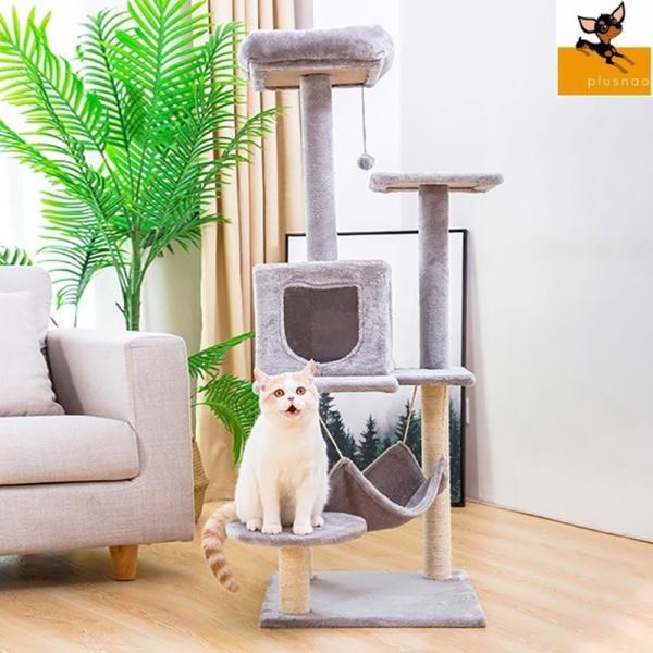 ペット用品 猫用品 キャットタワー 据え置き型 置き型 麻紐 ふわふわ ハウス ハンモック ソファ 猫じゃらしボール 大型商品 気持ちいい お昼寝 遊