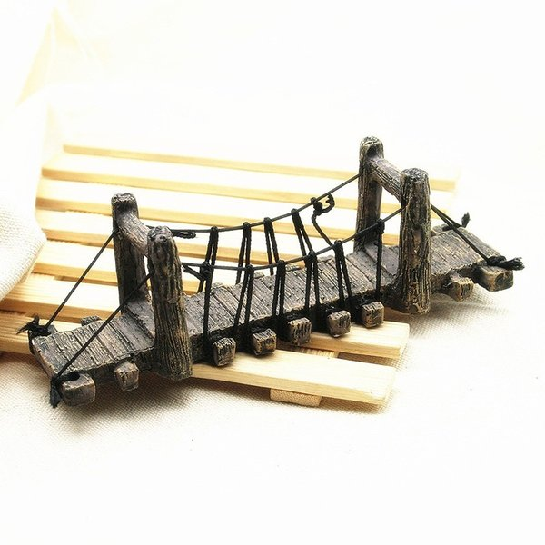 水槽用オブジェ 水槽内アクセサリー 水槽オーナメント 水槽用模型 水槽 オブジェ 置物 橋 木の橋 架け橋 アクアリウム用品 樹脂製 おしゃれ かわい
