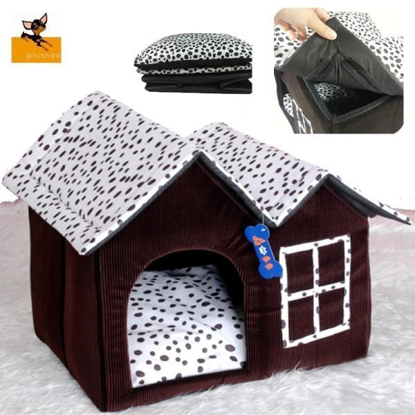 犬用ベッド 室内ハウス ペットハウス ペット用品 小型犬用 三角屋根 寝床 寝具 お昼寝 屋内用 犬小屋 ダルメシアンドット おしゃれ かわいい 四角