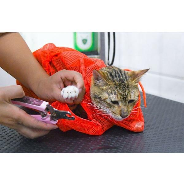 猫用お風呂バッグ シャワーバッグ 猫用みのむし袋 猫用ネット袋 グルーミングバッグ シャンプー 爪切り 耳掃除 ペット用品 猫用品 ネコ 多機能 おち|mignonlindo|02