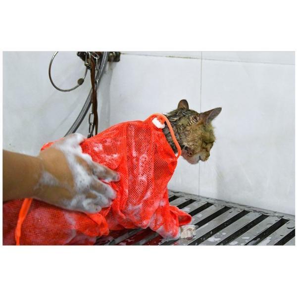 猫用お風呂バッグ シャワーバッグ 猫用みのむし袋 猫用ネット袋 グルーミングバッグ シャンプー 爪切り 耳掃除 ペット用品 猫用品 ネコ 多機能 おち|mignonlindo|11
