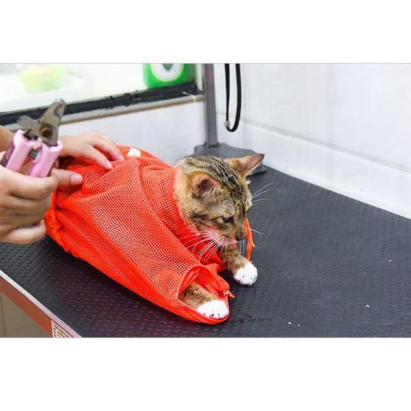 猫用お風呂バッグ シャワーバッグ 猫用みのむし袋 猫用ネット袋 グルーミングバッグ シャンプー 爪切り 耳掃除 ペット用品 猫用品 ネコ 多機能 おち|mignonlindo|12