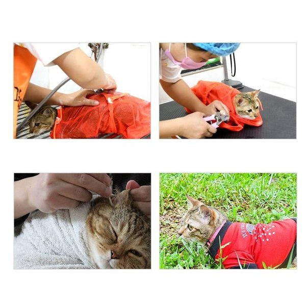 猫用お風呂バッグ シャワーバッグ 猫用みのむし袋 猫用ネット袋 グルーミングバッグ シャンプー 爪切り 耳掃除 ペット用品 猫用品 ネコ 多機能 おち|mignonlindo|03