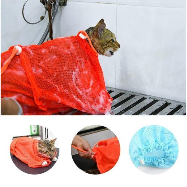 猫用お風呂バッグ シャワーバッグ 猫用みのむし袋 猫用ネット袋 グルーミングバッグ シャンプー 爪切り 耳掃除 ペット用品 猫用品 ネコ 多機能 おち|mignonlindo|10