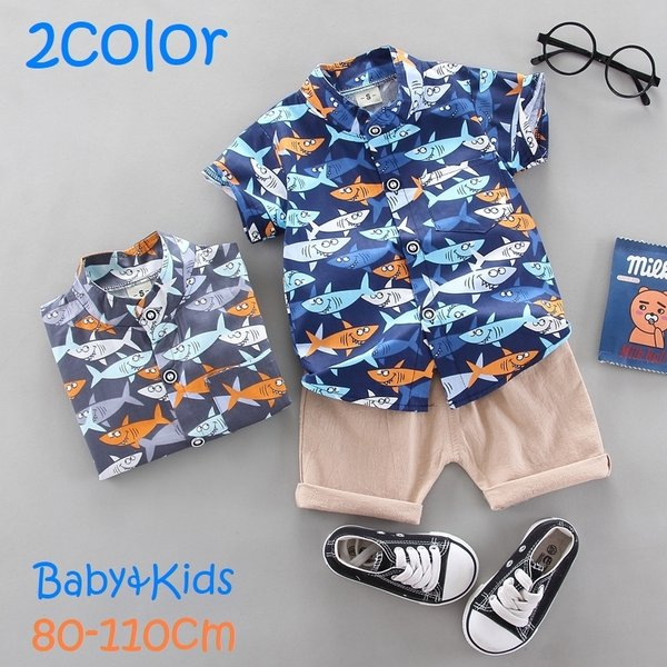 セットアップ 子供服 シャツ 半袖 半ズボン ショートパンツ 上下セット キッズ ベビー 男の子 スタンドカラー 短パン 魚柄 前ボタン カジュアル