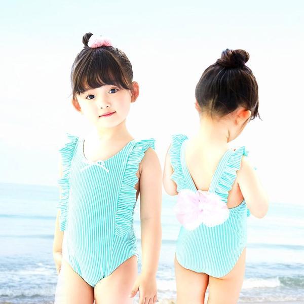 水着 ワンピース水着 女の子 ガール 子供 キッズ ジュニア 可愛い おしゃれ スイムウェア リボン ストライプ フリル