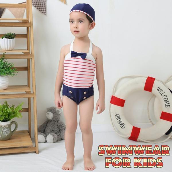 水着 ワンピースタイプ 2点セット 子供用 キッズ 女の子 水泳帽 スイムウェア 袖なし ノースリーブ ボーダー リボン ボタン 夏 プール 海 川