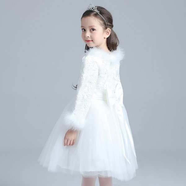 58209af5d1248 ... 子供用ドレス 子供ドレス こどもドレス キッズドレス プリンセスドレス 長袖 ファー 発表会 コスプレ ...