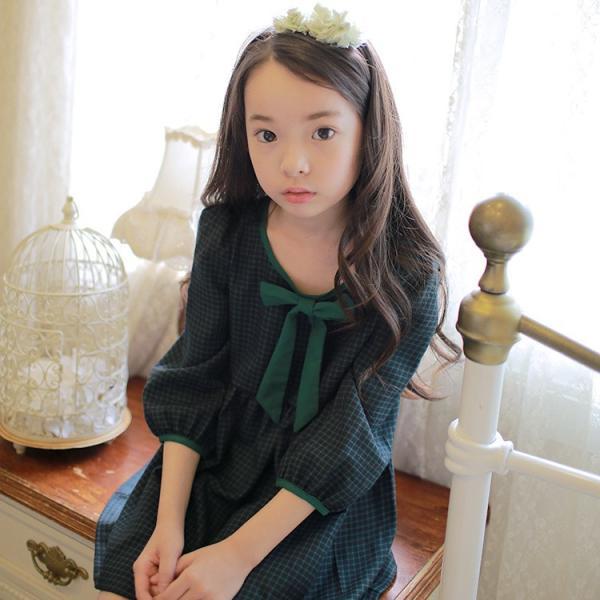 a80237622fe7b ... ワンピース 七分袖 ミニスカート リボン チェック おしゃれ 可愛い キュート 女の子 女児 幼児 キッズ ジュニア