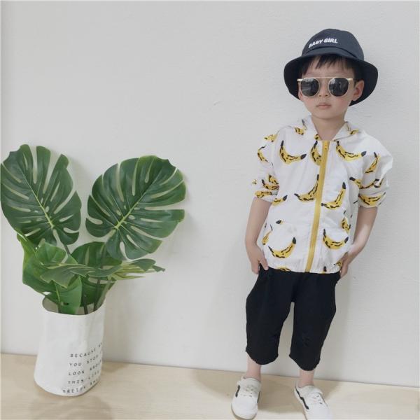 ジップアップパーカー 長袖 フード付き バナナ柄 子供用 日焼け予防 日焼け防止 紫外線対策 UV対策 ジッパー チャック ファスナー おしゃれ 可愛