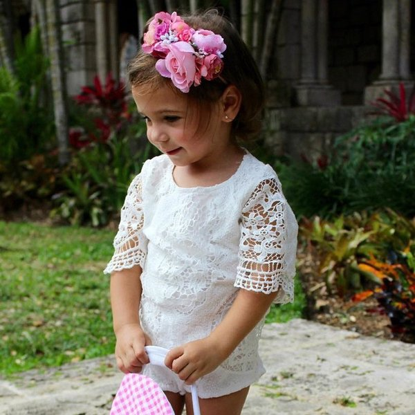 ロンパース ベビー 赤ちゃん 新生児 女の子 クルーネック 半袖 レース 透け感 無地 かわいい ベビー服 おしゃれ 60cm 70cm 80cm 9|mignonlindo