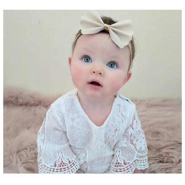 ロンパース ベビー 赤ちゃん 新生児 女の子 クルーネック 半袖 レース 透け感 無地 かわいい ベビー服 おしゃれ 60cm 70cm 80cm 9|mignonlindo|06
