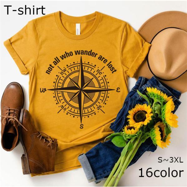 半袖Tシャツ カットソー レディース トップス Uネック クルーネック ロゴ コンパス 女性用 大きいサイズ かっこいい 方位磁針