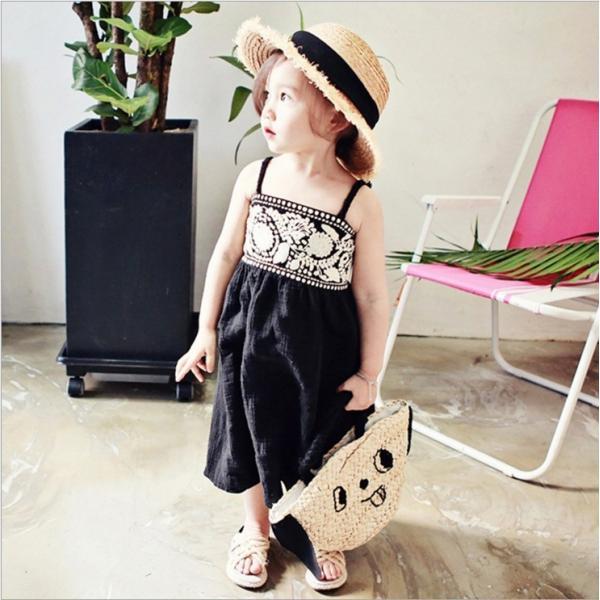 キャミソールワンピース ロング丈 ノースリーブ 子供用 フレアスカート 夏 刺繍 シンプル おしゃれ 可愛い かわいい 女の子 女児 キッズ 子供服