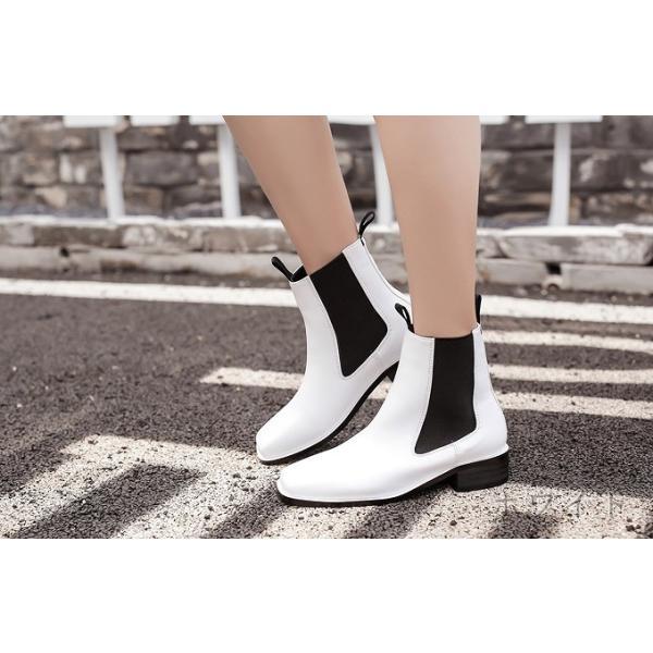 サイドゴアブーツ ショートブーツ レディース 秋冬 靴 定番 ベーシック 白 黒 ローヒール 歩きやすい 安定感 定番 ベーシック 大人 カジュアル