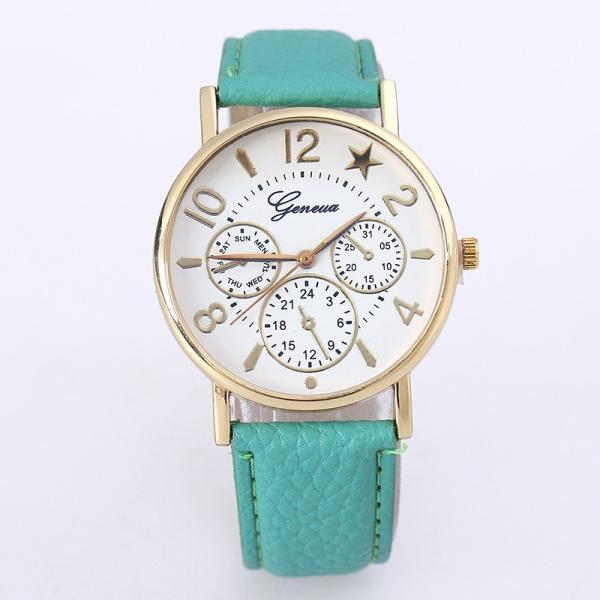 腕時計 アナログ 男女兼用 ユニセックス フェイクレザーベルト フェイクレザー 秒針 スター 星 ウォッチ 時計 通学 カラフル かわいい 可愛い お