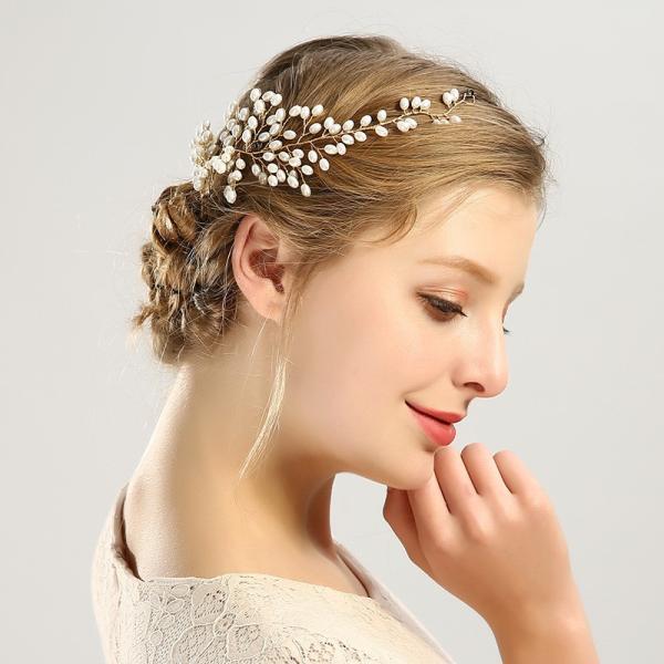 ヘッドドレス カチューシャ ヘアアクセサリー レディース フェイクパール 髪飾り パールカチューシャ おしゃれ 上品 きれいめ 女性用 ウェディング