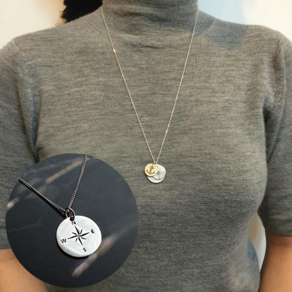ネックレス シルバー925 ペンダント アクセサリー コンパス 方位磁石 チェーン ロング レディース メンズ シンプル シルバーカラー 女性 男性