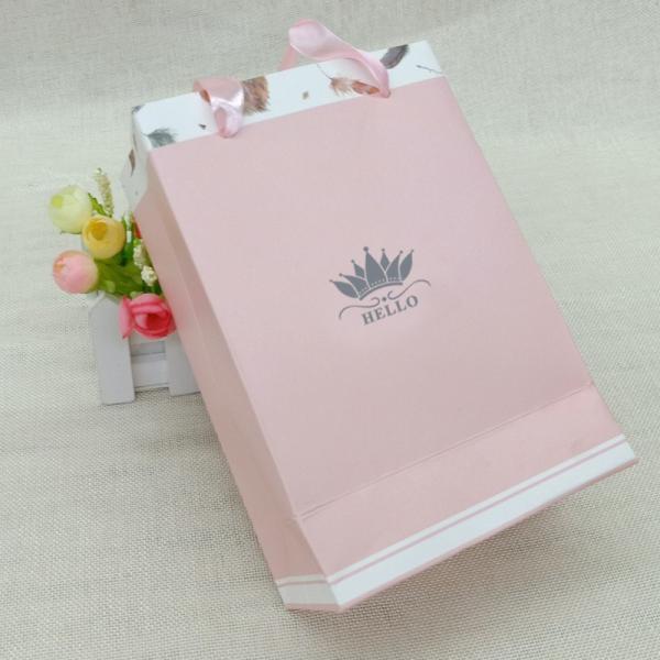 紙袋 3枚セット ペーパーバッグ ミニサイズ 手提げ袋 袋 羽 紐 ピンク かわいい 可愛い シンプル