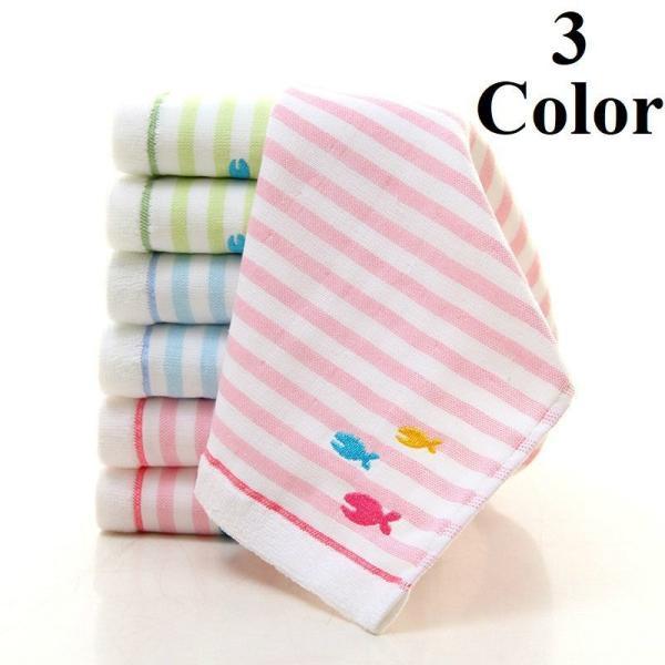ハンドタオル ボーダー 魚 フィッシュ 刺繍 長方形 ベビー 赤ちゃん 子供 キッズ バス用品 コットン 綿 やわらか かわいい