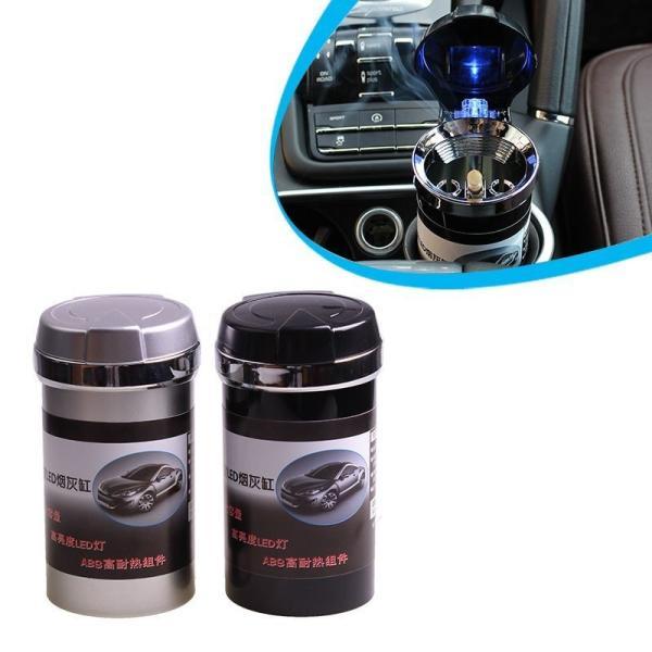 車載灰皿 ポータブル灰皿 カー用品 蓋付き LEDライト ドリンクホルダー対応 銀 黒 シルバー ブラック