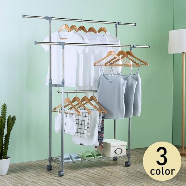 物干しスタンド 室内 3列掛け 洗濯用品 伸縮可能 キャスター付き 布団干し ハンガーラック 屋内 物干し台 洋服掛け ワードローブ 収納 洗濯物 新