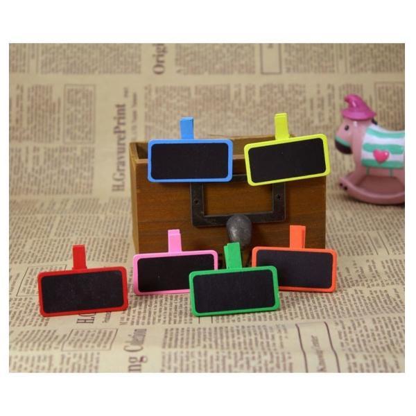 クリップボード 黒板 ミニサイズ 6色セット メッセージボード 書き込みボード メモ 雑貨 小さい キッチン ブラックボード インテリア 装飾 長方形