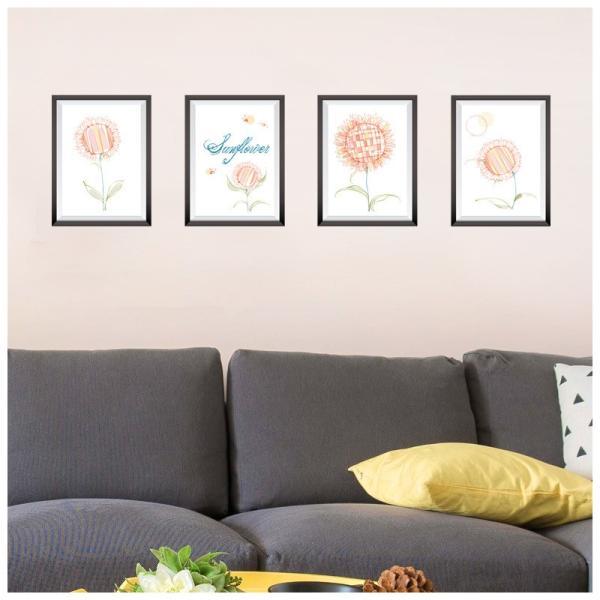 ウォールステッカー ウォールシール ヒマワリ ひまわり 向日葵 お花 フラワー イラスト ポスター風 額縁 壁シール 壁紙シール 壁面装飾 壁装飾 室