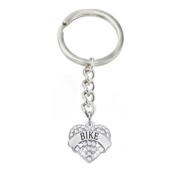 キーリング キーホルダー レディース メンズ ハート BIKE 英語 ロゴ ラインストーン シンプル きらきら きれい かわいい 色違い 自転車のカギ