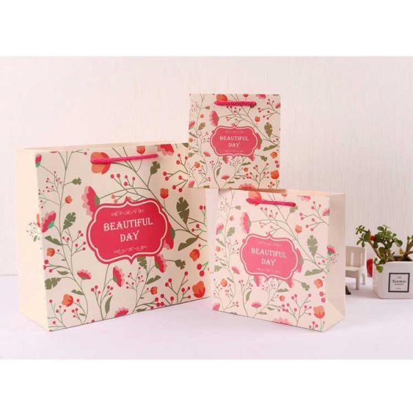 紙袋 3枚セット ペーパーバッグ ミニサイズ 手提げ袋 袋 かわいい 可愛い 英字 草花 花