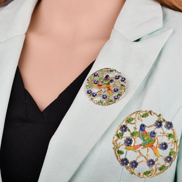 ブローチ レディース アクセサリー 花 鳥 かわいい おしゃれ カラフル プレゼント 贈り物 ギフト ファッション雑貨 フラワー バード