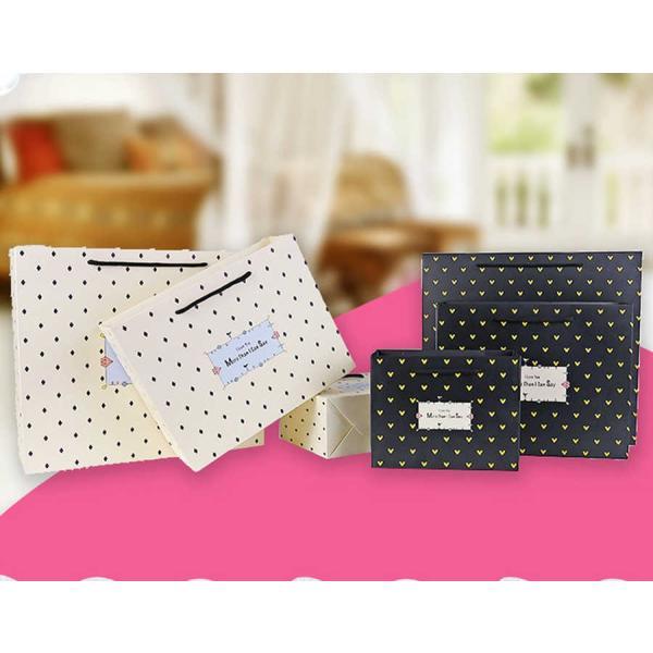 紙袋 3枚セット ペーパーバッグ ミニサイズ 手提げ袋 袋 紐 かわいい 可愛い ひし形 ハート 英字 シンプル