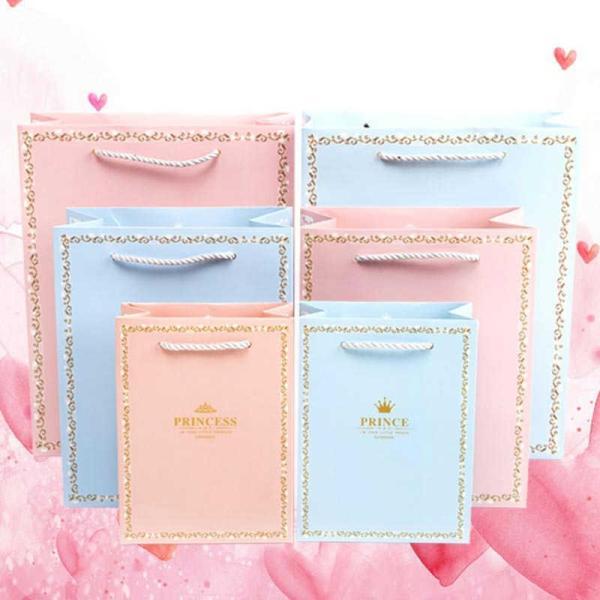 紙袋 3枚セット ペーパーバッグ ミニサイズ 手提げ袋 袋 かわいい 可愛い ピンク ブルー