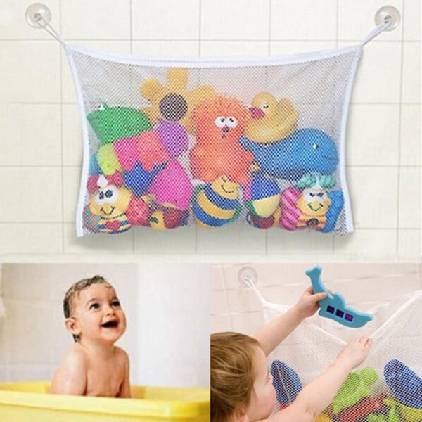 お風呂おもちゃ収納 バストイ入れ お片付けネット 収納ネット バスネット 水遊び お風呂 バスフック 吸盤付き|mignonlindo
