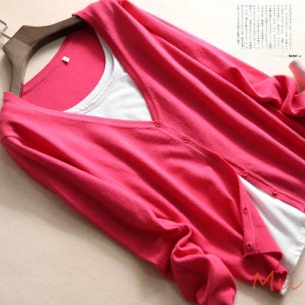 カーディガン 長袖 パステルカラー コーデ ニット レディース トップス 7色 シンプル カジュアル セーター|miistore|02