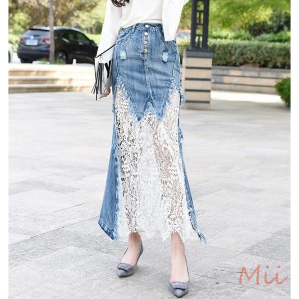 デニムスカート マキシ丈 ロング丈 マーメイドスカート 大きいサイズ 花柄 レース おしゃれ シースルー miistore 05