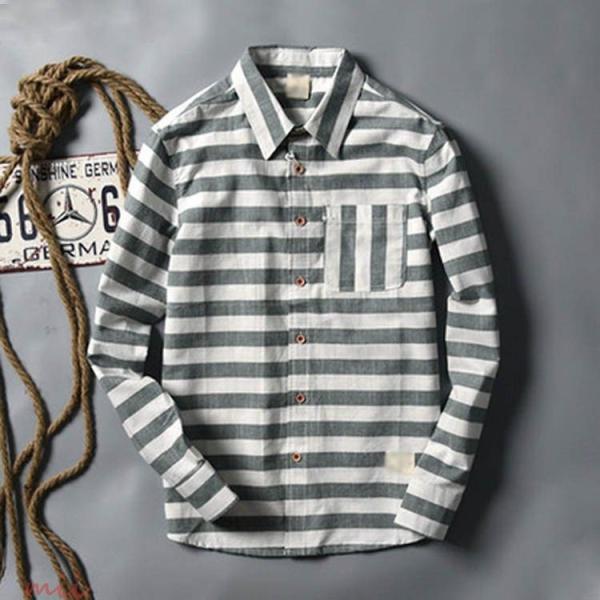 ボーダー柄 長袖シャツ 長袖 カジュアルシャツ シャツ メンズ シャツ 長袖 ウエスタンシャツ miistore 02