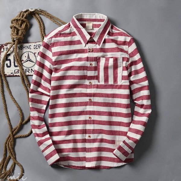 ボーダー柄 長袖シャツ 長袖 カジュアルシャツ シャツ メンズ シャツ 長袖 ウエスタンシャツ miistore 03