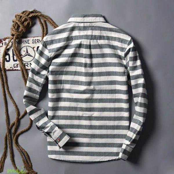 ボーダー柄 長袖シャツ 長袖 カジュアルシャツ シャツ メンズ シャツ 長袖 ウエスタンシャツ miistore 04