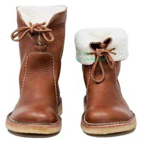 ミドルブーツ PU レディース 歩きやすい 防寒 裏ボア 裏起毛 合成皮革 ミディアム丈 厚底 ロングブーツ 冬 フラットシューズ ブーツ レースアップ 美脚 靴|miistore