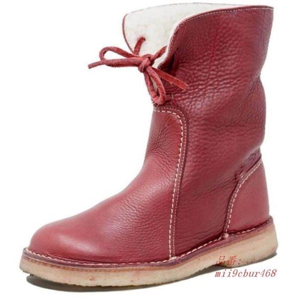 ミドルブーツ PU レディース 歩きやすい 防寒 裏ボア 裏起毛 合成皮革 ミディアム丈 厚底 ロングブーツ 冬 フラットシューズ ブーツ レースアップ 美脚 靴|miistore|04