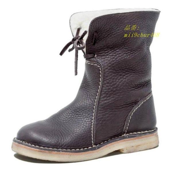 ミドルブーツ PU レディース 歩きやすい 防寒 裏ボア 裏起毛 合成皮革 ミディアム丈 厚底 ロングブーツ 冬 フラットシューズ ブーツ レースアップ 美脚 靴|miistore|05