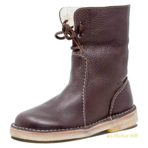ミドルブーツ PU レディース 歩きやすい 防寒 裏ボア 裏起毛 合成皮革 ミディアム丈 厚底 ロングブーツ 冬 フラットシューズ ブーツ レースアップ 美脚 靴|miistore|07