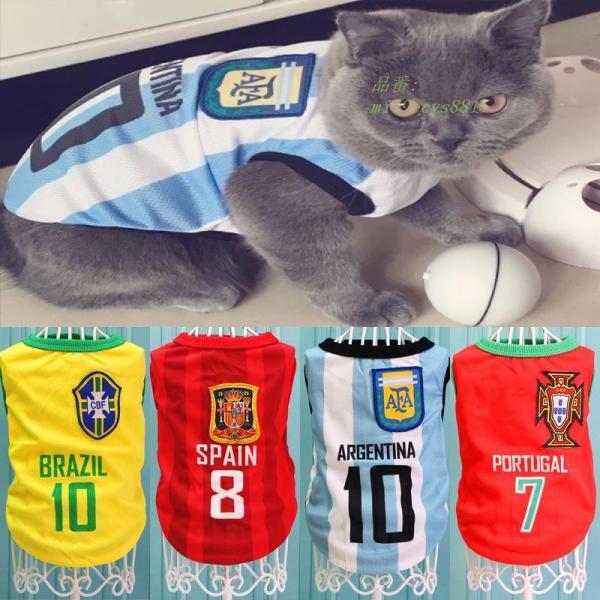 夏クール猫ベスト服サッカーユニフォームスポーツペット Tシャツ小型猫 Tシャツキティ衣装 XS XXL グループ上 ホーム ガーデン から 猫 服 中 miistore