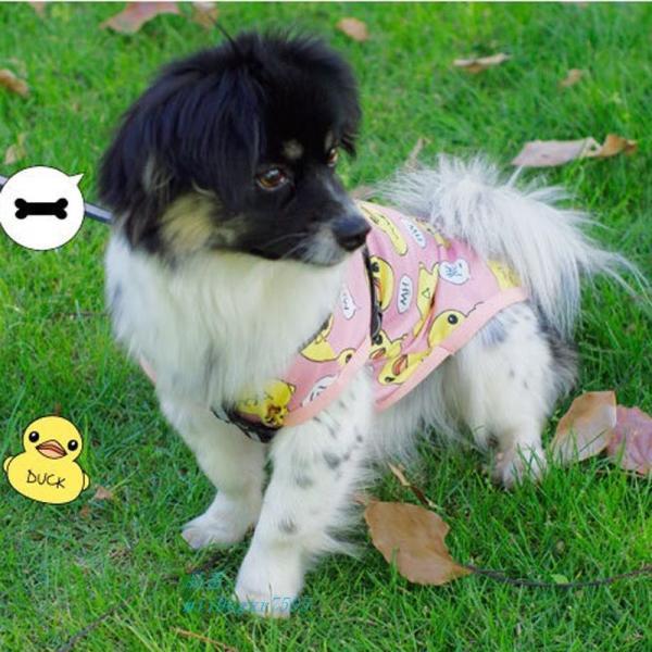 夏 ペット 犬服漫画 アヒルプリント子犬猫 Tシャツ小型犬チワワベストパグ tシャツコート グループ上 ホーム ガーデン から 犬用 コート ジャケット 中|miistore|05