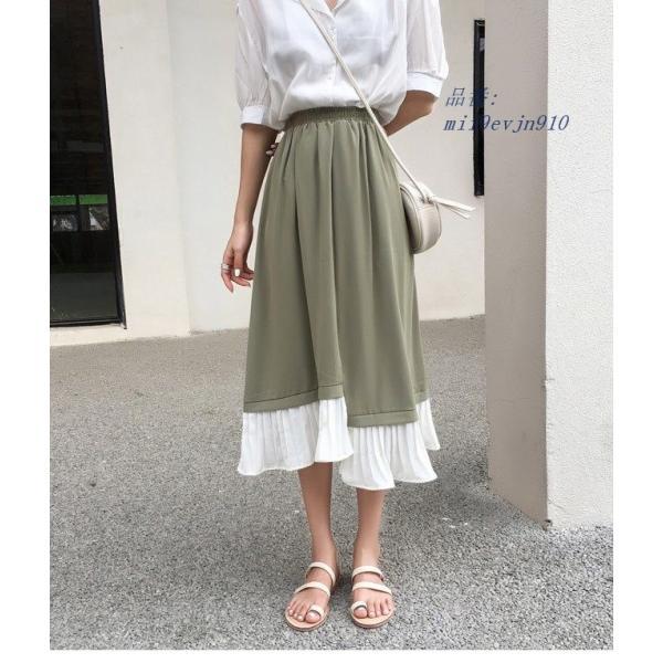 ロングスカート Aラインスカート 色切り替え 夏 女性 薄手 スカート お洒落 マキシ丈スカート ボトムス 不規則裾 ウエストゴム|miistore|10